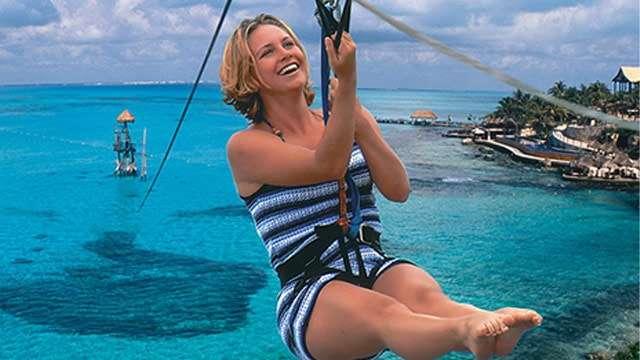 Zip Lining in Cancun's Adventure Park