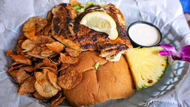 Grouper sandwich at Gramma Dot's