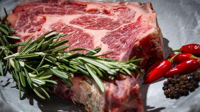 Raw Beef Steak & herbs