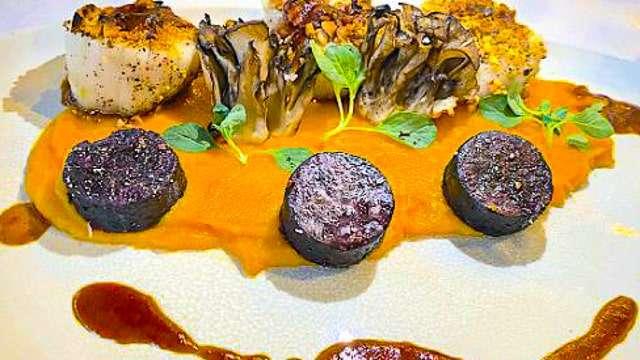 Scallops with purple potatoes & pumpkin puree